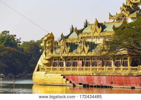 Karaweik Palace at day , Myanmar Yangon landmark