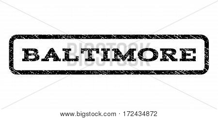 Baltimore watermark stamp. Text caption inside rounded rectangle frame with grunge design style. Rubber seal stamp with dust texture. Vector black ink imprint on a white background.