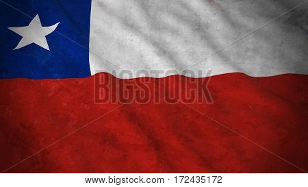 Grunge Flag Of Chile - Dirty Chilean Flag 3D Illustration