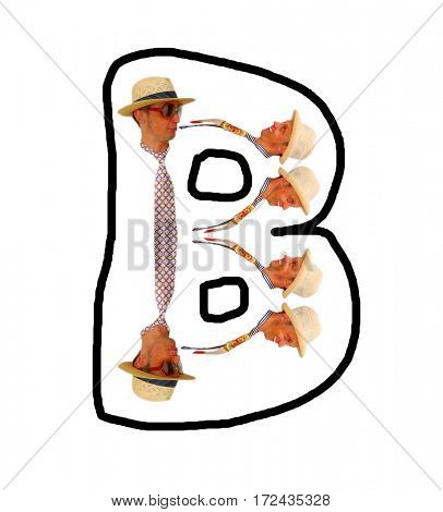 Letter B with fashionable man.