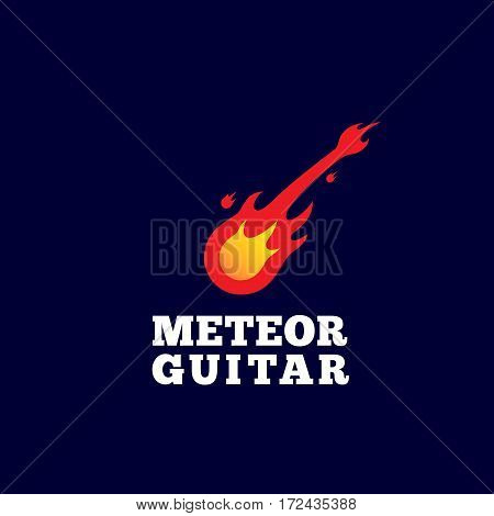 Meteor Guitar Abstract Vector Sign, Emblem or Logo Template. Music Instrument Shaped Comet Silhouette. On Dark Blue Background.