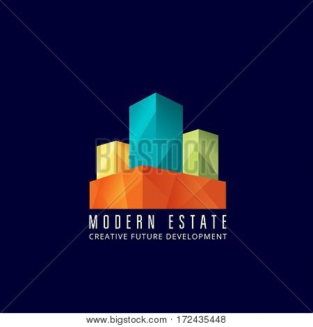 Modern Estate Abstract Vector Sign, Emblem or Logo Template. Creative Concept Buildings Facade or Exterior Symbol With Contemporary Typography. On Blue Background.