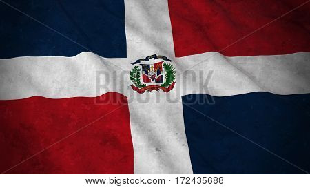 Grunge Flag Of The Dominican Republic - Dirty Dominican Flag 3D Illustration
