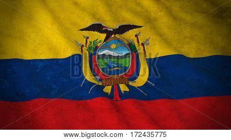 Grunge Flag Of Ecuador - Dirty Ecuadorian Flag 3D Illustration