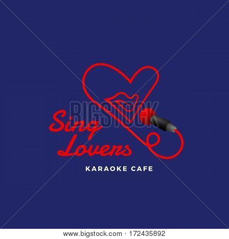 Sing Lovers Karaoke Abstract Vector Sign, Emblem or Logo Template. Singing Mouth in the Microphone in a Heart Shape. Creative Concept. Red on Blue Background.