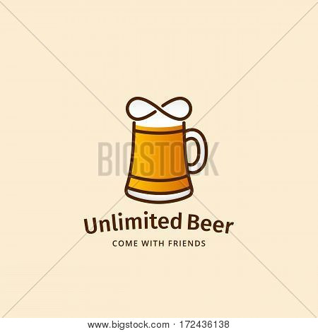 Unlimited Beer Abstract Vector Sign, Emblem or Logo Template. Mug Silhouette with Infinity Symbol. Good for Bars, Pubs or Oktoberfest Posters, Stickers, Flyers, etc. On Light Background.