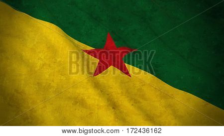 Grunge Flag Of French Guiana - Dirty French Guianese Flag 3D Illustration