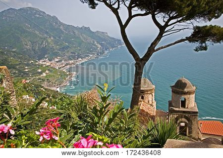 View of the Amalfi coastline looking east towards Minori and Maiori from Ravello.