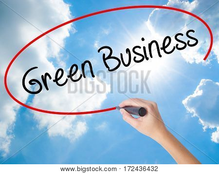 Woman Hand Writing Green Business With Black Marker On Visual Screen