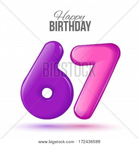 sixty seven birthday greeting card template with 3d shiny number sixty seven balloon on white background. Birthday party greeting, invitation card, banner with number 67 shaped balloon