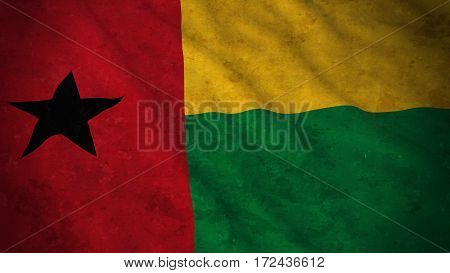 Grunge Flag Of Guinea-bissau - Dirty Bissau-guinean Flag 3D Illustration