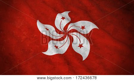 Grunge Flag Of Hong Kong - Dirty Hong Kongese Flag 3D Illustration