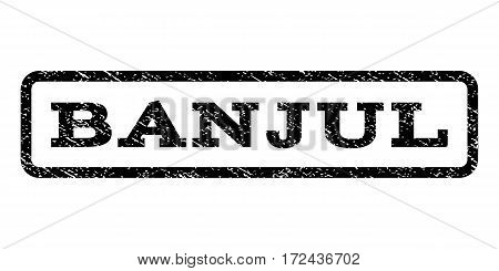 Banjul watermark stamp. Text caption inside rounded rectangle with grunge design style. Rubber seal stamp with scratched texture. Vector black ink imprint on a white background.