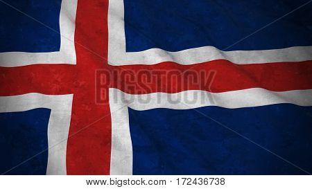 Grunge Flag Of Iceland - Dirty Icelandic Flag 3D Illustration