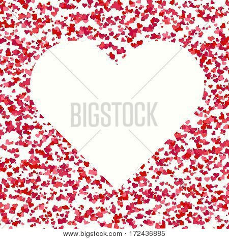 Big white Heart on light decorative abstract background with small multicolored hearts. Flat style design for Saint Valentines Day or wedding greeting card. Heart as a symbol of love.