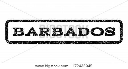 Barbados watermark stamp. Text caption inside rounded rectangle frame with grunge design style. Rubber seal stamp with unclean texture. Vector black ink imprint on a white background.