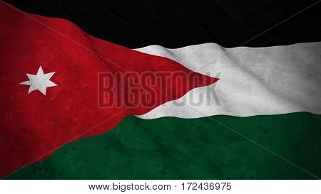 Grunge Flag Of Jordan - Dirty Jordanian Flag 3D Illustration