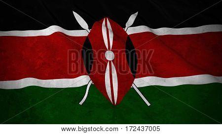 Grunge Flag Of Kenya - Dirty Kenyan Flag 3D Illustration