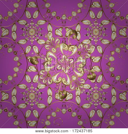Golden pattern on pink background with golden elements. Classic vector golden pattern. Classic vintage background. Traditional orient ornament.
