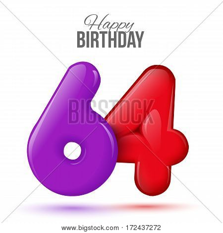 sixty four birthday greeting card template with 3d shiny number sixty four balloon on white background. Birthday party greeting, invitation card, banner with number 64 shaped balloon