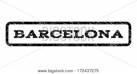 Barcelona watermark stamp. Text caption inside rounded rectangle frame with grunge design style. Rubber seal stamp with unclean texture. Vector black ink imprint on a white background.