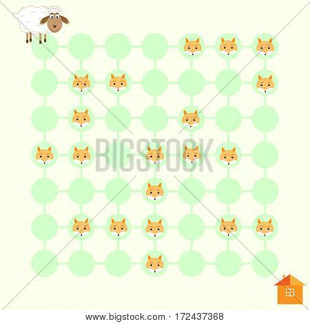cute maze game Lamb (Lamb help to reach the house) vector illustration