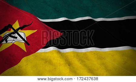 Grunge Flag Of Mozambique - Dirty Mozambican Flag 3D Illustration