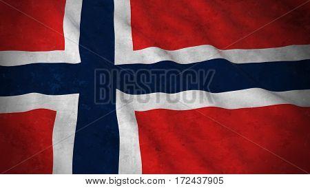Grunge Flag Of Norway - Dirty Norwegian Flag 3D Illustration
