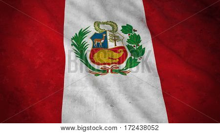 Grunge Flag Of Peru - Dirty Peruvian Flag 3D Illustration