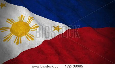 Grunge Flag Of The Philippines - Dirty Filipino Flag 3D Illustration