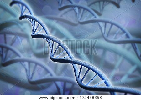 DNA structure over abstract background - 3D rendering