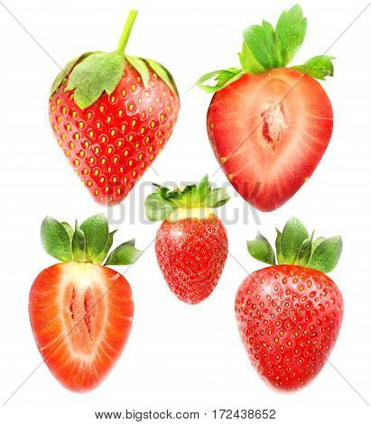 Photo collection of colorful tasty strawberries on white background
