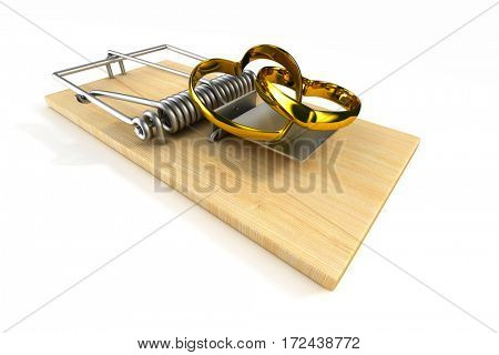 mousetrap with wedding ring on white background. Isolated 3D image