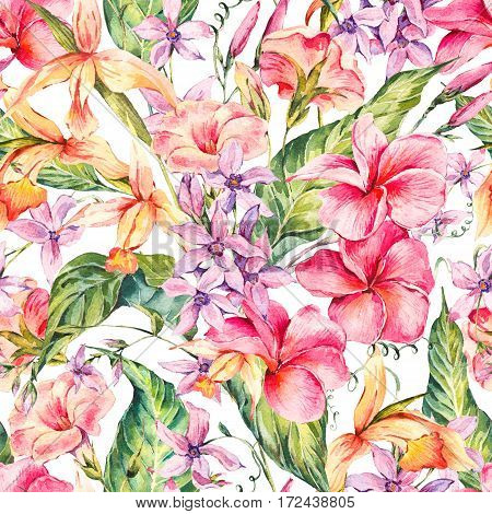 Watercolor vintage floral tropical seamless pattern. Exotic flowers, twigs and leaves. Botanical bright classic illustration isolated on white background.