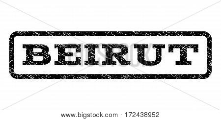 Beirut watermark stamp. Text tag inside rounded rectangle frame with grunge design style. Rubber seal stamp with dust texture. Vector black ink imprint on a white background.