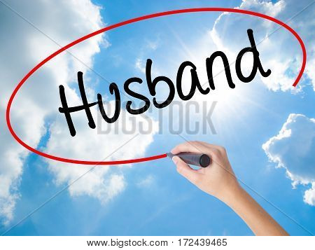 Woman Hand Writing Husband With Black Marker On Visual Screen.