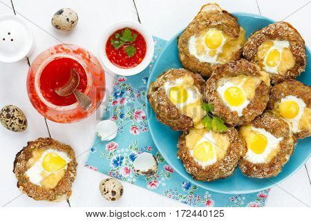Meat bird nests with quail eggs for Easter dinner