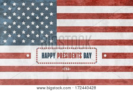 Grunge Presidents Day Background With American Flag
