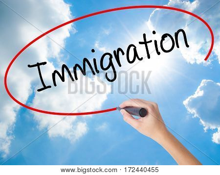 Woman Hand Writing Immigration With Black Marker On Visual Screen