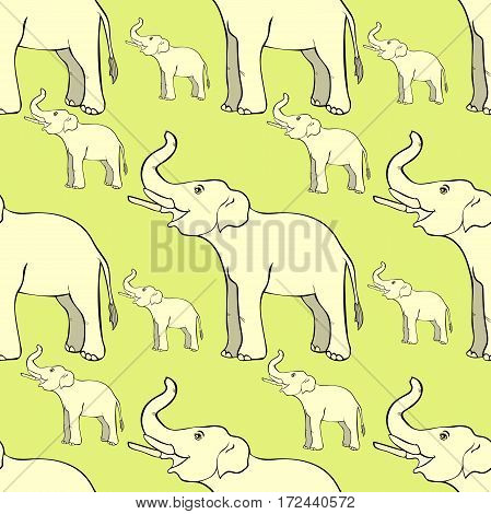 Seamless Pattern Smiling The Elephant Sideways Up The Trunk . Vector Illustration