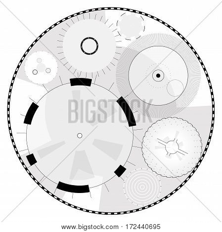 Abstract round high-tech mandala with circles. Space Time machine. Transparent fill up screen or monitor. Isolated central sight of wheels. Subtle mechanical bizarre clock gear on white. Master vector