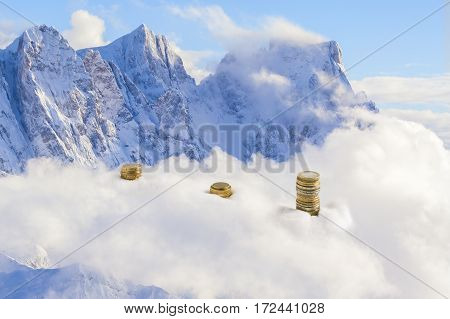 Surreal Euro Coins On The Alps