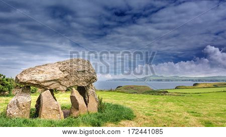 Dolmen in Wales with a great view of the sea.