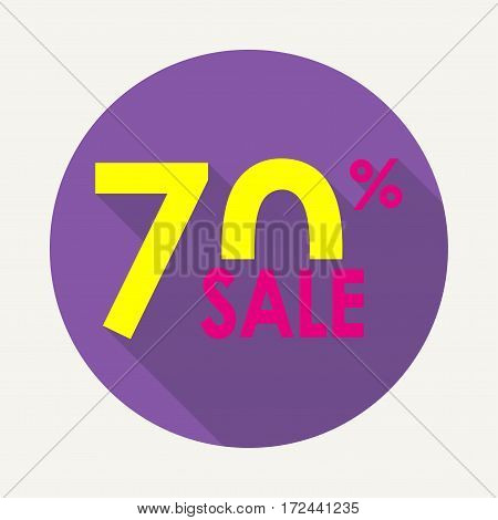 Sale 70% and discount price sign or icon. Sales design template. Shopping and low price symbol. Colorful vector illustration.