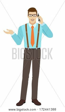 Businessman talking on the mobile phone and gesturing. Businessman shows something beside of him. A man wearing a tie and suspenders. Full length portrait of businessman in a flat style. Vector illustration.