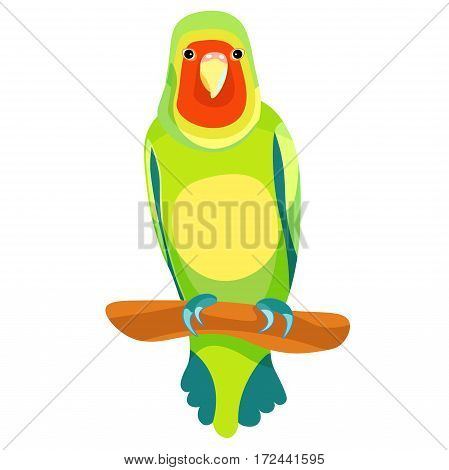 Lovebird Parrot Sits Right With A Red Head. Vector Illustration