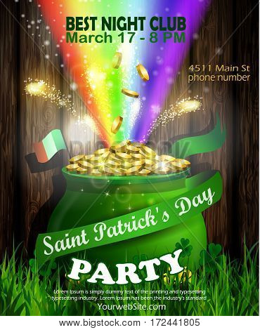 Vector St. Patrick s Day poster design template. Pot of Gold and rainbow on wooden wall