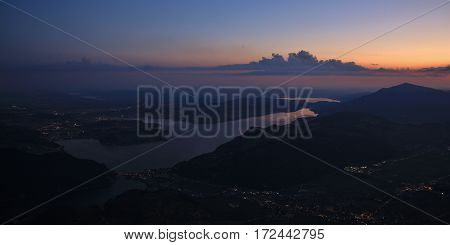 Lake Vierwaldstattersee Lucerne and mount Rigi at dawn. View from mount Stanserhorn.