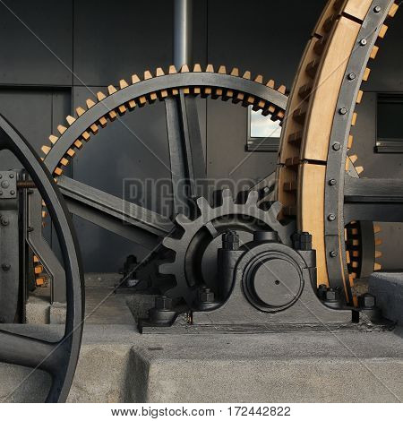 Big cogs of the old Stanserhorn cable car.