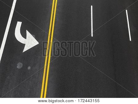Road Markings On Asphalt On The Street Of Manhattan